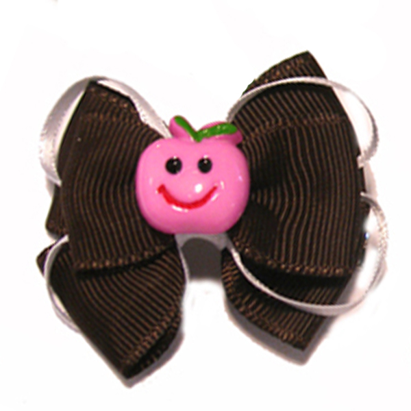 Happy Face Apple Ribbon Dog Bow - Pink Face and Brown Ribbon