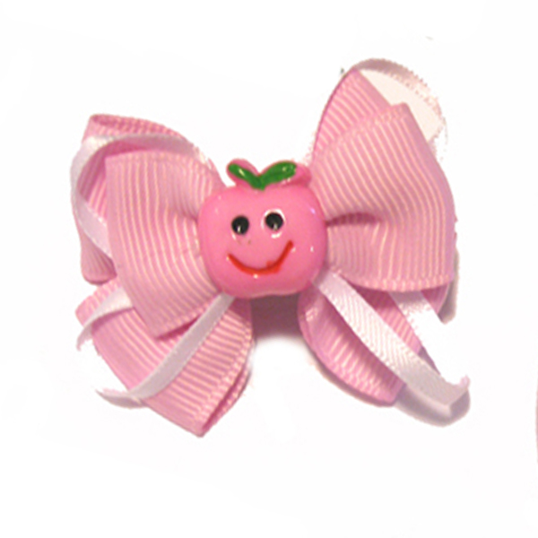 Happy Face Apple Ribbon Dog Bow - Pink Face and Pink Ribbon