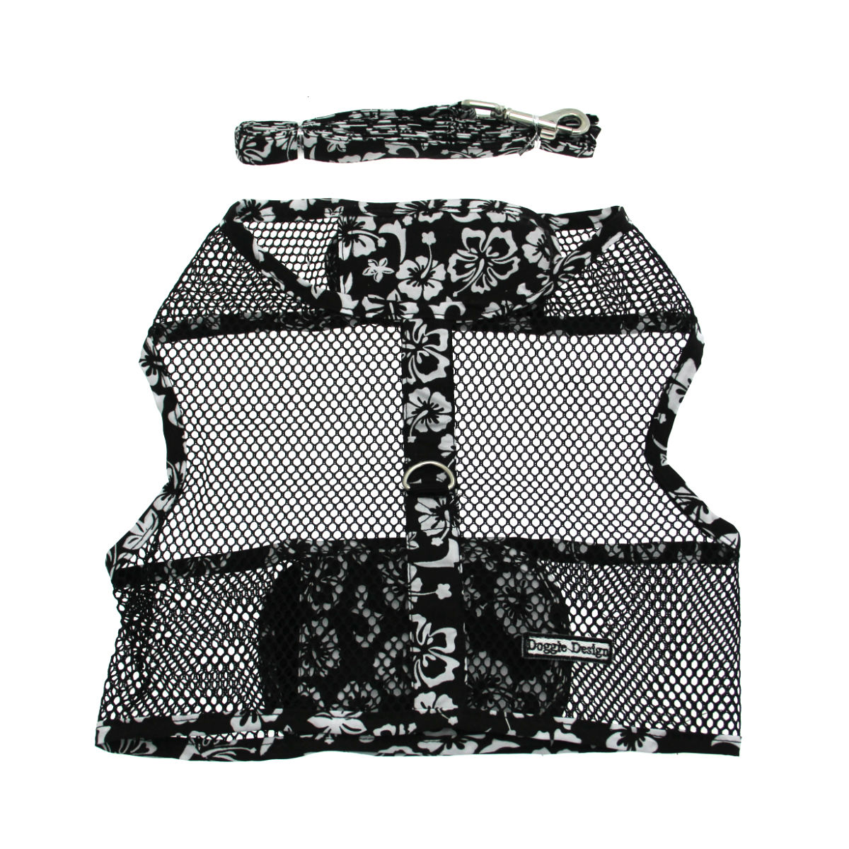 Hawaiian Netted Dog Harness w/ Leash - Black