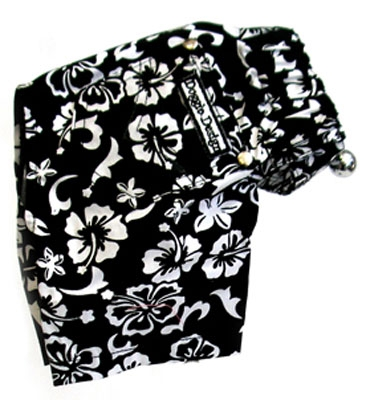 Hawaiian Print Dog Board Shorts - Black | BaxterBoo