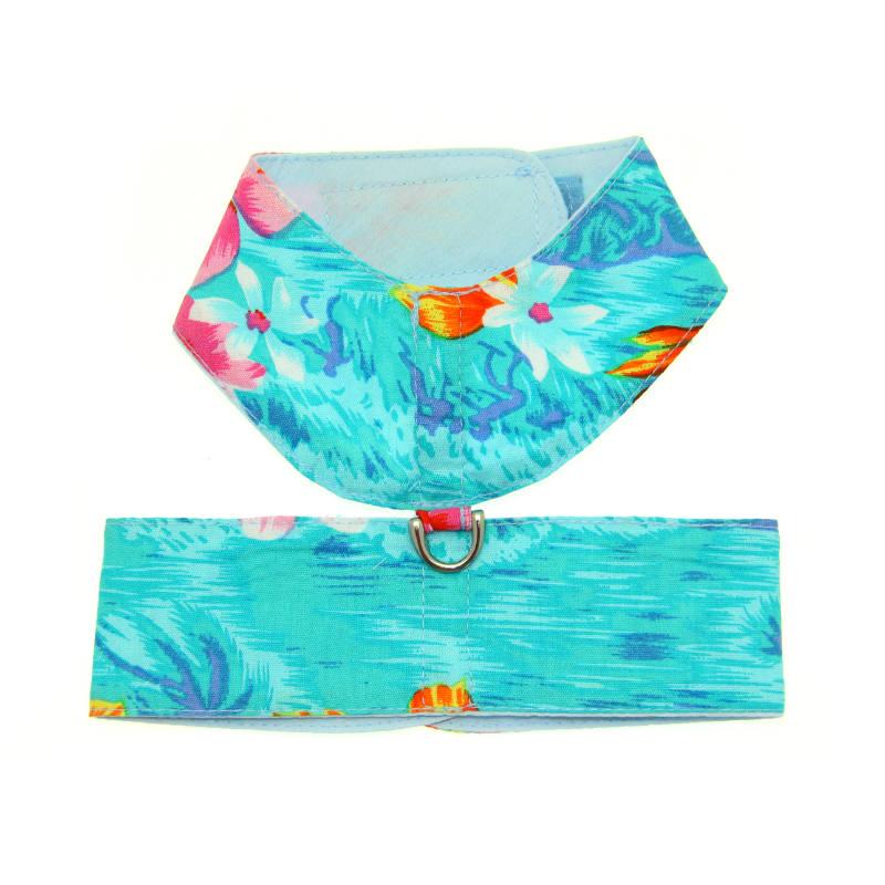 Hawaiian Print Dog Harness - Blue