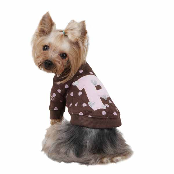Heart Cotton Dog Sweartshirt by Pinkaholic - Brown
