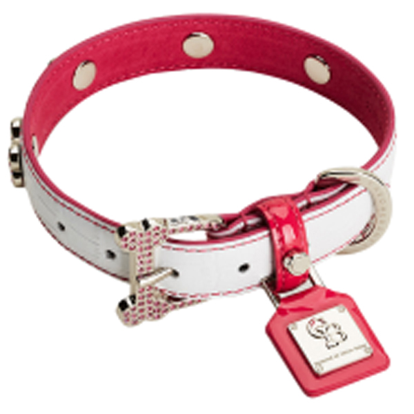 Heaven White Pink Diamonds Dog Collar by Chrome Bones