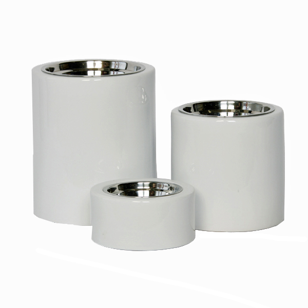 High-Rise White Dog Feeder Bowl