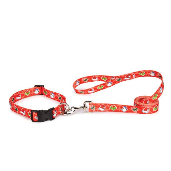 Holly Jolly Dog Collar & Lead Set - Joy Red