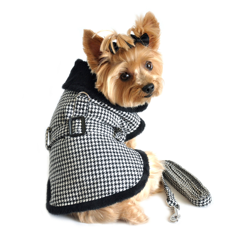 Houndstooth Dog Harness Coat by Doggie Design