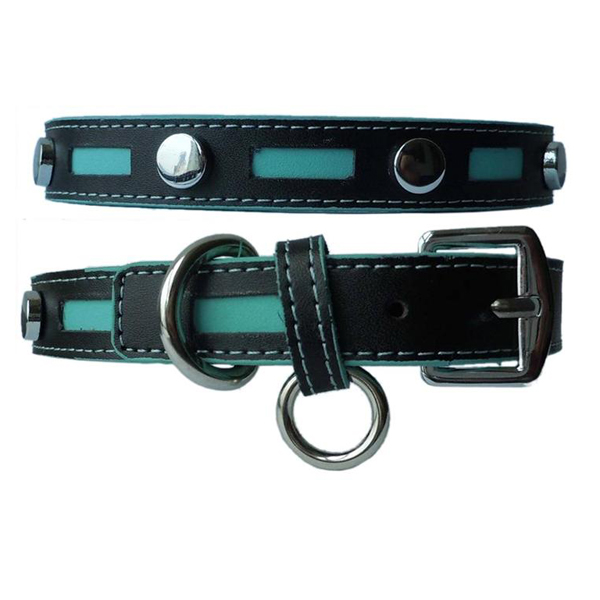 Inlaid Leather Dog Collar - Black with Blue