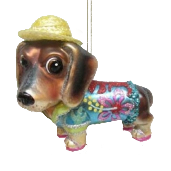 Jim Marvin Dachshund in Hawaiian Shirt Ornament
