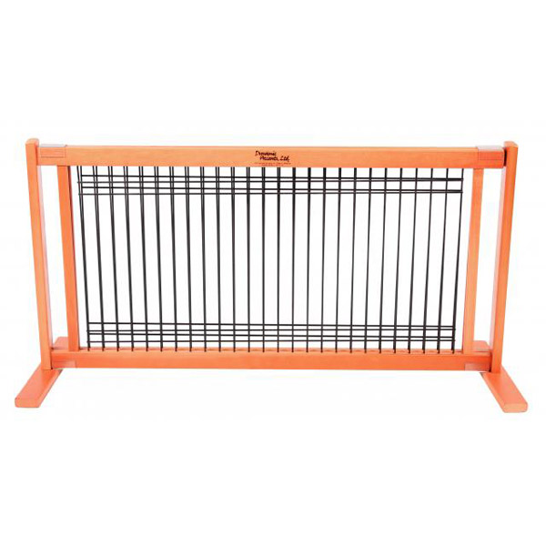 Kensington Free Standing Wood/Wire Slide Dog Gate - Cherry