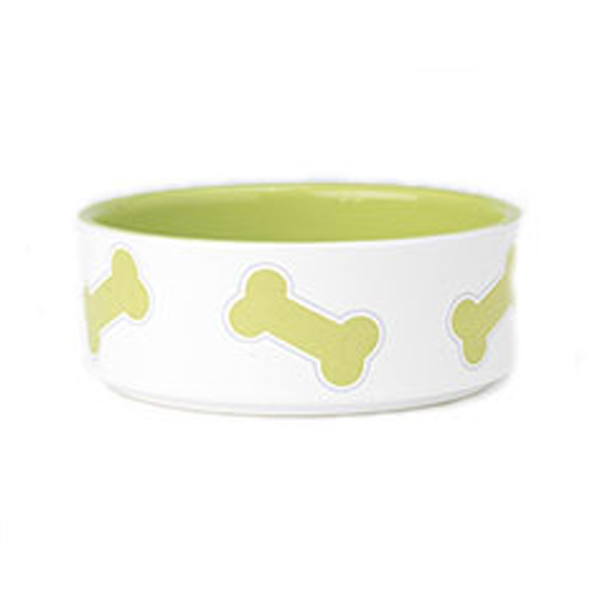 Kool Pet Bones Dog Bowl - Lime Green