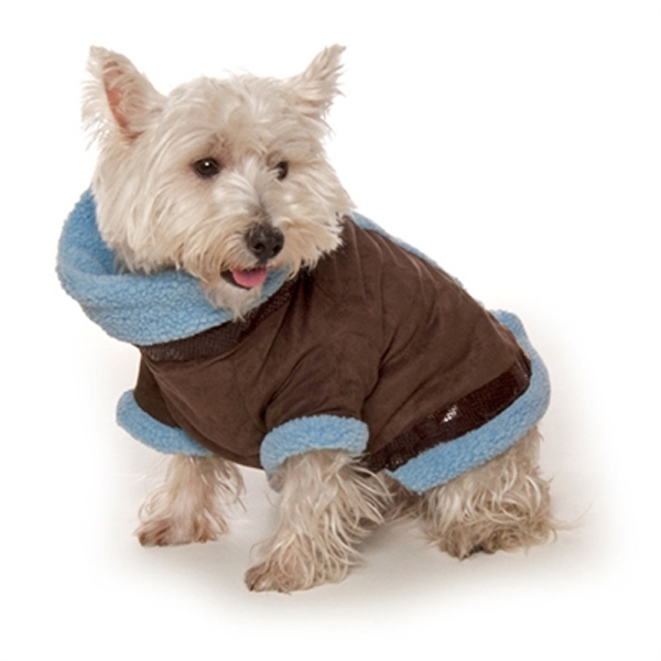 Kumfy Tailz Cools & Warms Winter Dog Coat - Brown with Light Blue