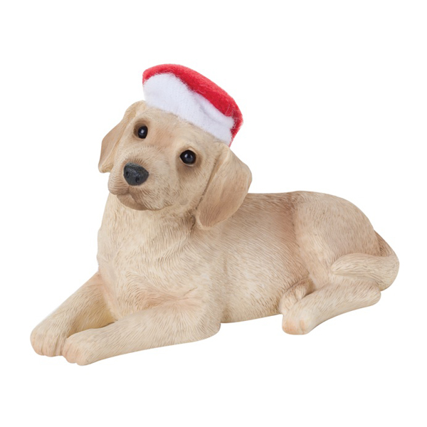 Labrador Retriever With Hat Christmas Ornament - Yellow