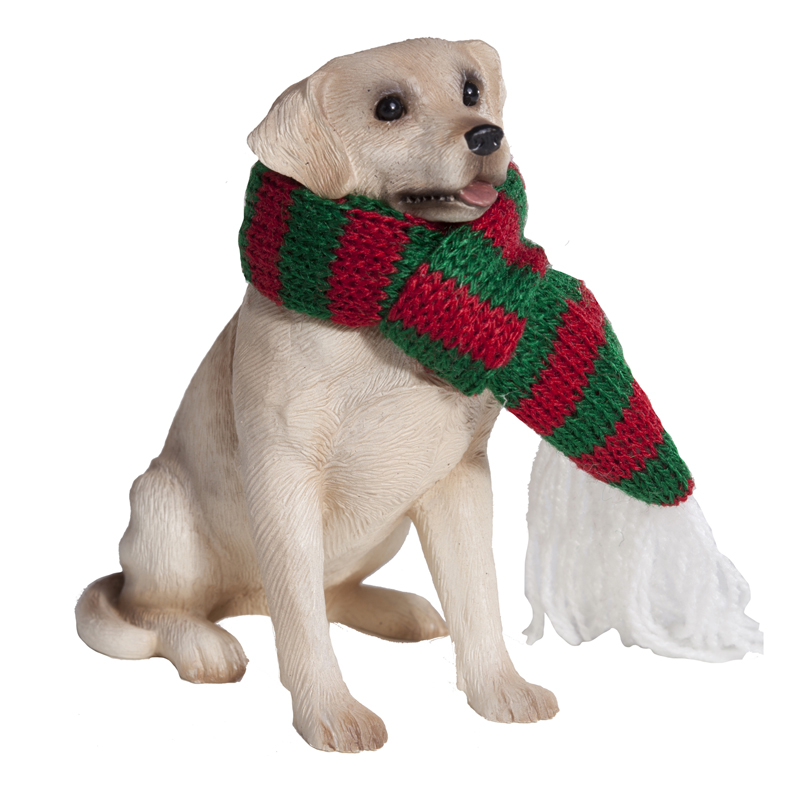 Labrador Retriever with Scarf Christmas Ornament - Yellow