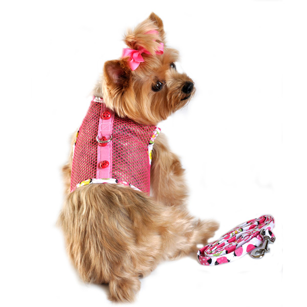 Lady Bug Cool Mesh Dog Harness by Doggie Design - Pink