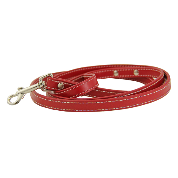 Leather Dog Leash - Red