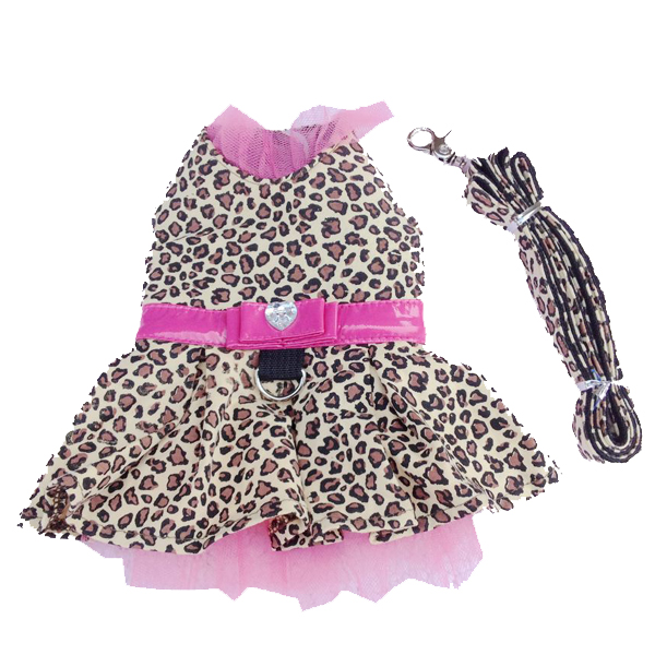 Leopard Harness Dog Dress and Leash - Pink
