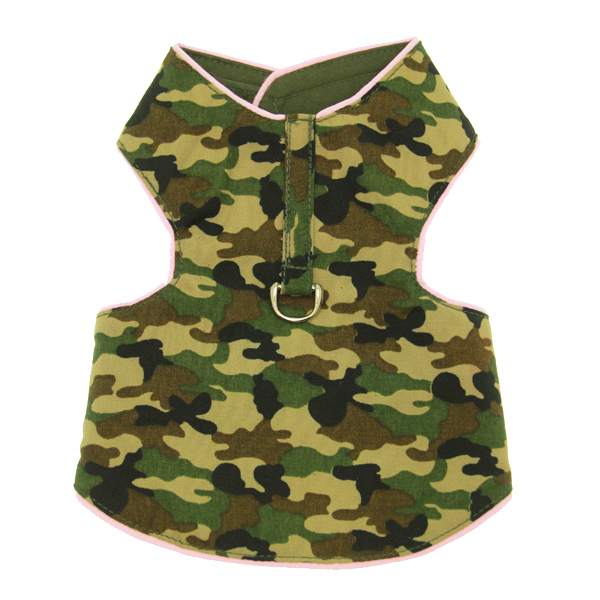 Lightweight Camo Harness Vest - Green with Pink Trim