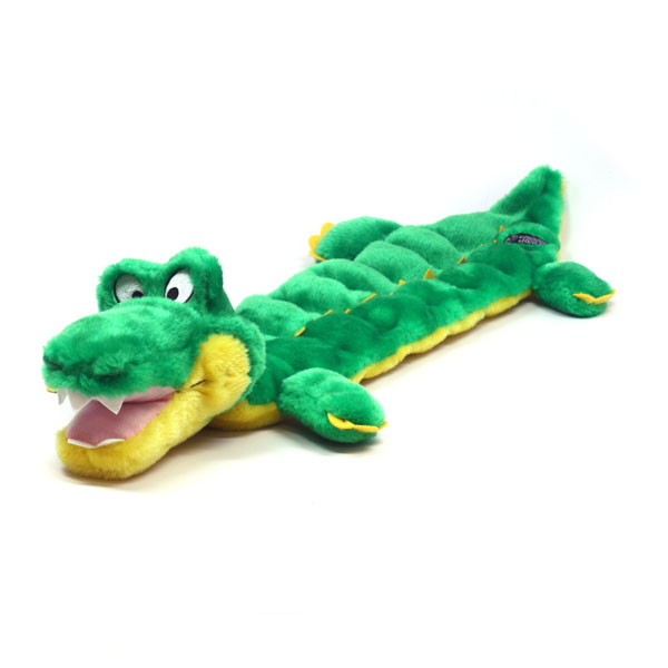 Long Body Gator Squeaker Mat Dog Toy
