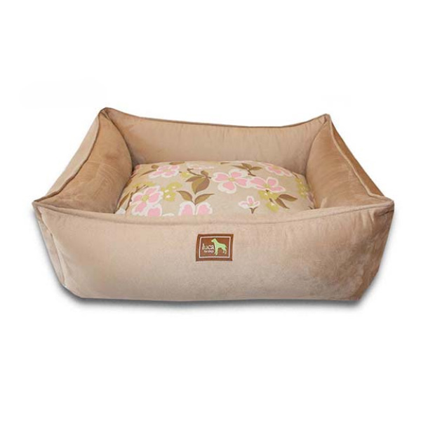 Luca Lounge Dog Bed - Camel/Meadow