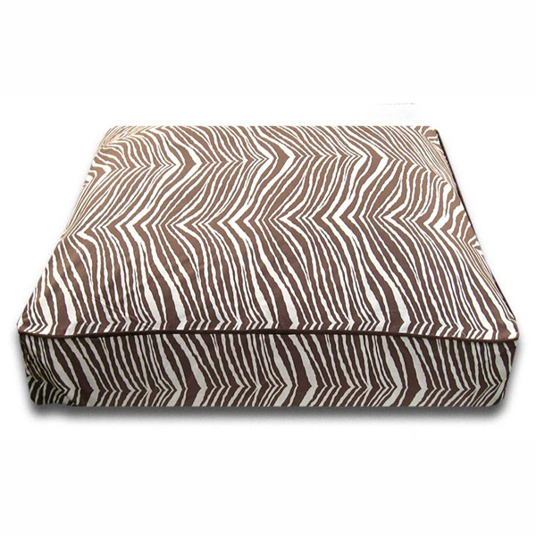 Luca Luxe Rectangle Dog Bed - Brown Zebra