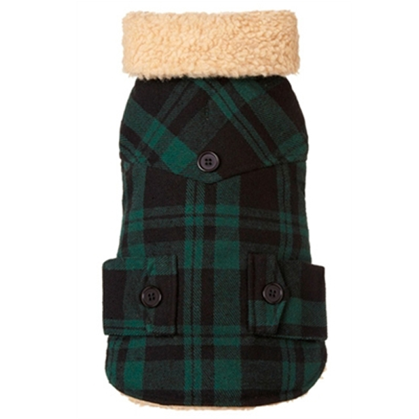 Lumberjack Wool Plaid Shearling Dog Jacket - Green