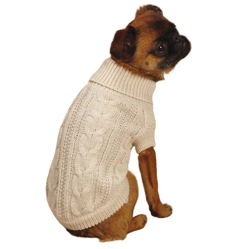 Lurex cable knit dog sweater creme brulee at baxterboo - Knitting for dogs sweaters ...