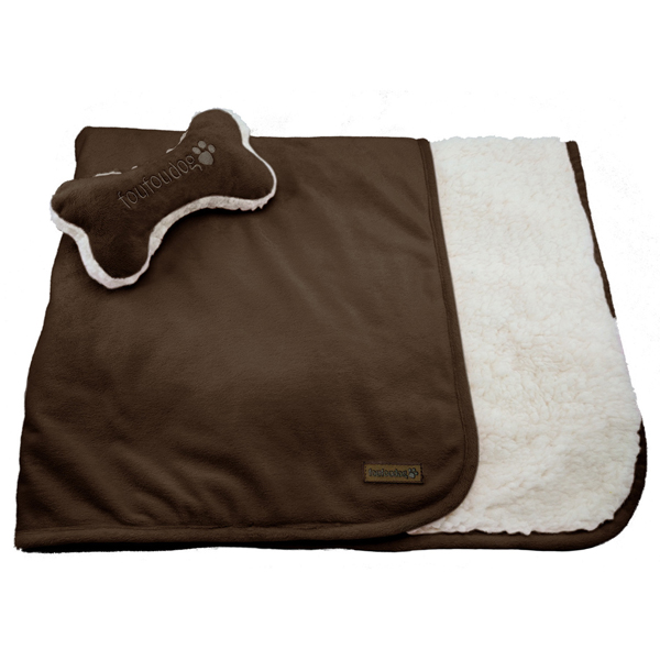 Luxe Sherpa Puppy Blanket and Toy Set - Chocolate Brown