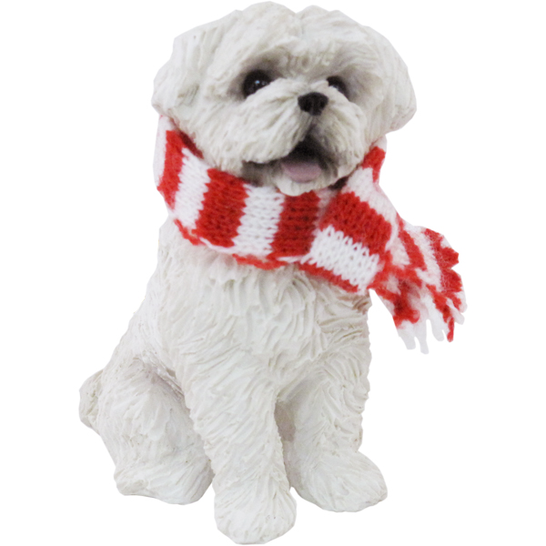 Maltese Sitting with Scarf Christmas Ornament