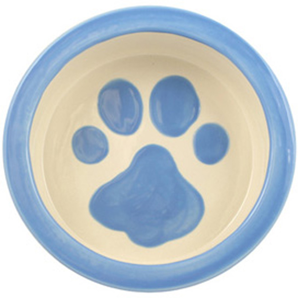 Melia Paw Ceramic Pet Bowl - Light Blue