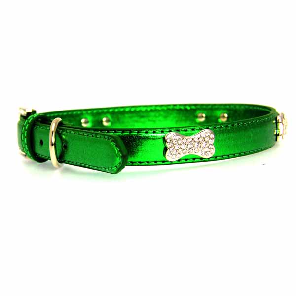 Metallic Crystal Bone Dog Collar - Emerald Green