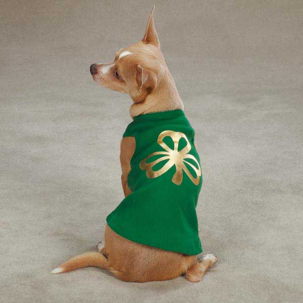 Metallic Foil Shamrock Dog Tank