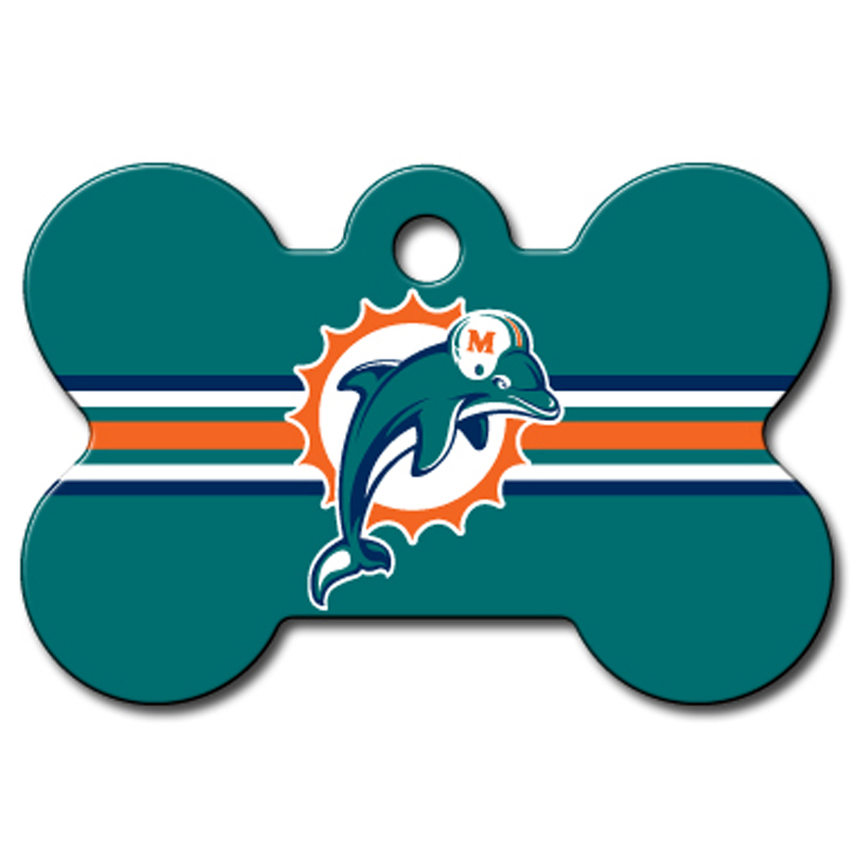 Miami Dolphins Engravable Pet I.D. Tag - Bone