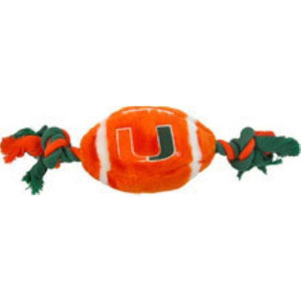Miami Hurricanes Plush Football Dog Toy