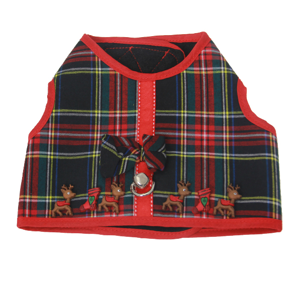 My Canine Kids Reindeer Plaid Dog Harness