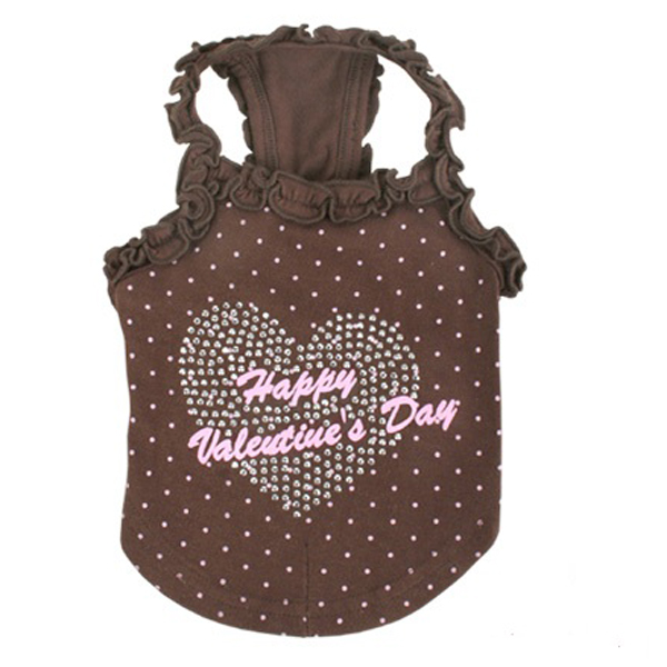 My Valentine Dog Shirt by Pinkaholic - Brown