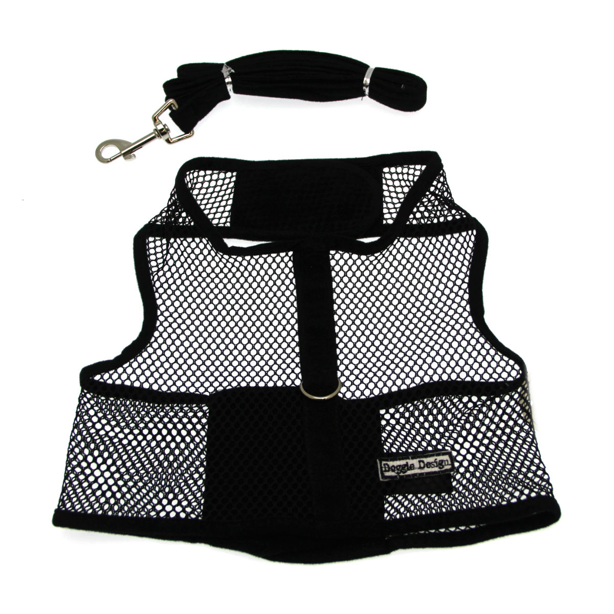 Netted Dog Harness with Leash - Black