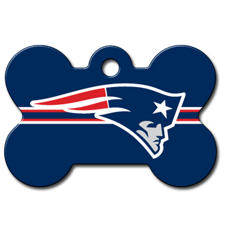 New England Patriots Engravable Pet I.D. Tag - Bone
