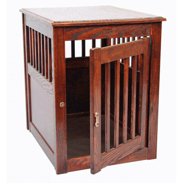 Oak End Table Dog Crate Mahogany Baxterboo