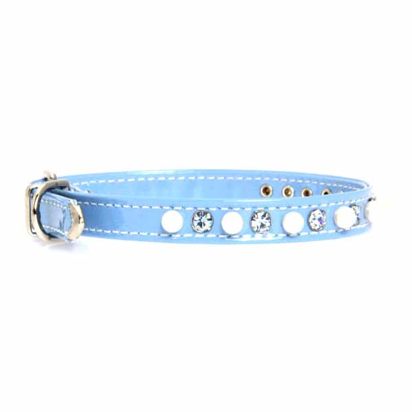 Patent Pearl & Crystal Dog Collar - Baby Blue