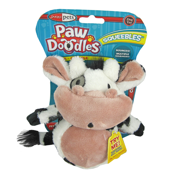 Pawdoodles Squeebles Dog Toy - Cow