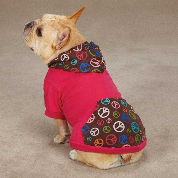 Peace Out Pullover Dog Hoodie - Raspberry