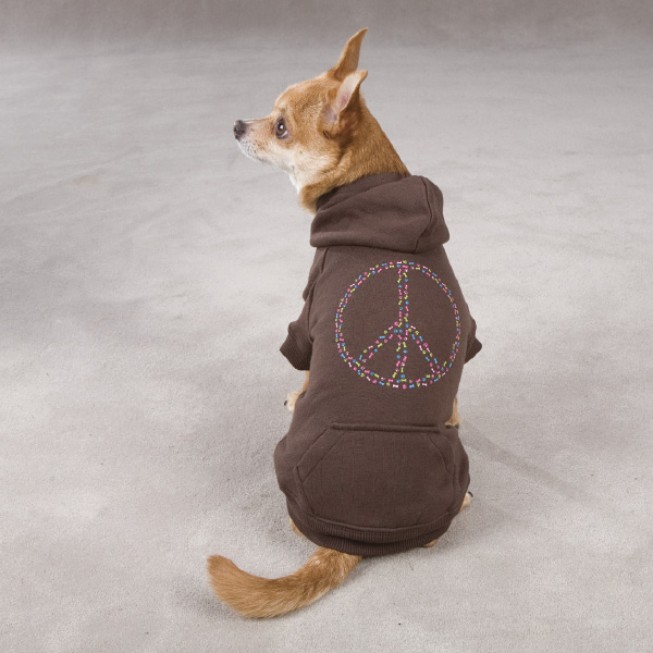 Peace Sign Dog Hoodie - Brown