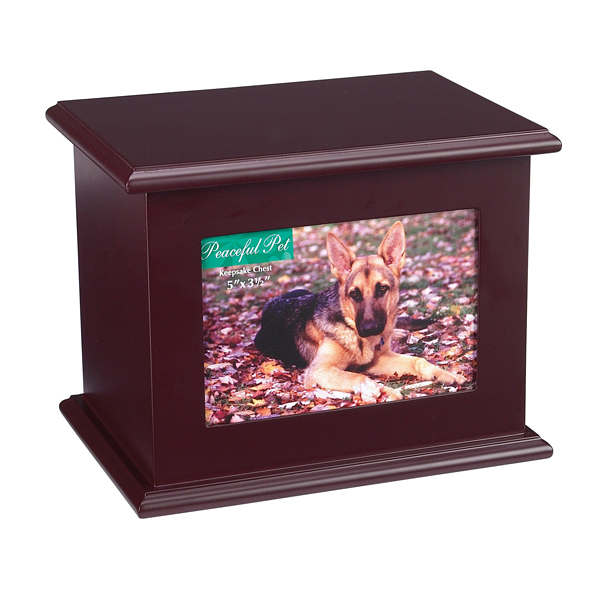 Peaceful Pet Memorial Mahogany Keepsake Chest
