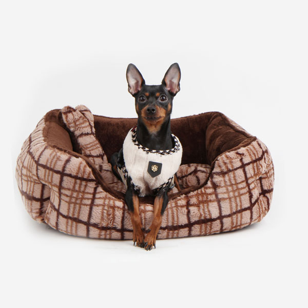 Peasant Plaid Dog Bed by Puppia - Brown