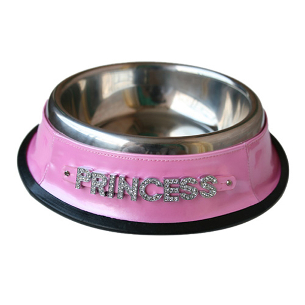 Personalized Dog Bowl with Letter Strap - Pink