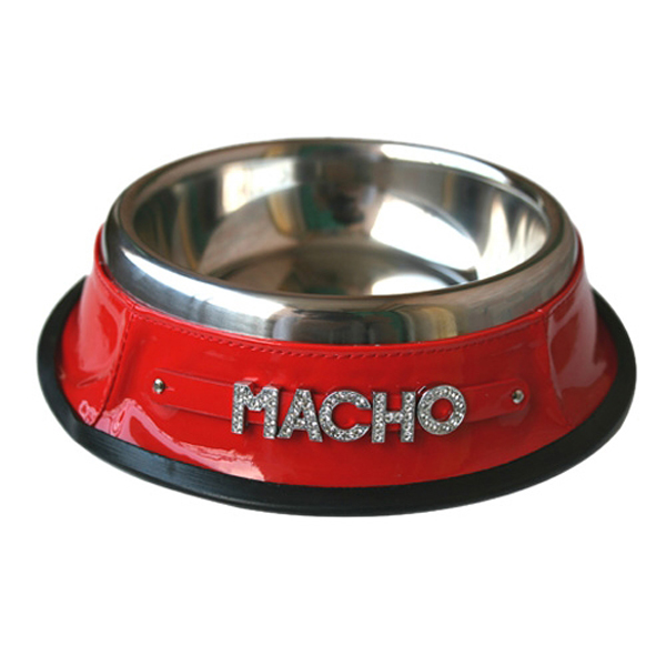 Personalized Dog Bowl with Letter Strap - Red