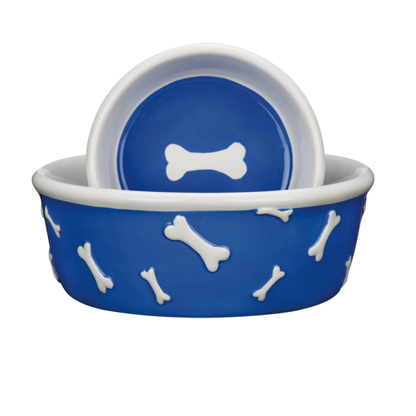 Pet Studio Blue Ribbon Bone Dog Dishes - Blue