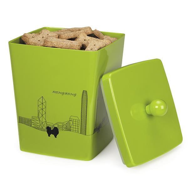 Pet Studio City Dog Melamine Treat Canister - Neon Lights