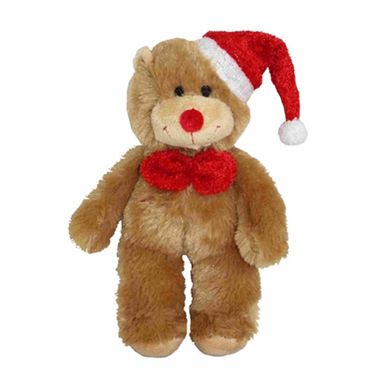 PetLou Christmas Bear Dog Toy with Bow Tie   BaxterBoo