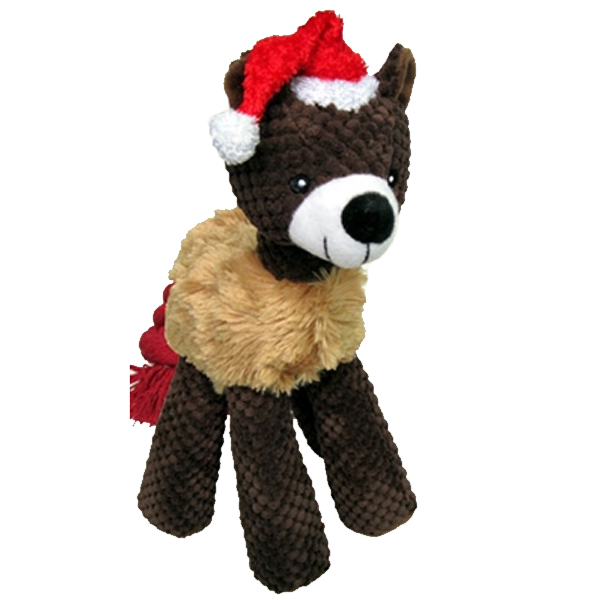PetLou Christmas Bear Long Legged Dog Toy